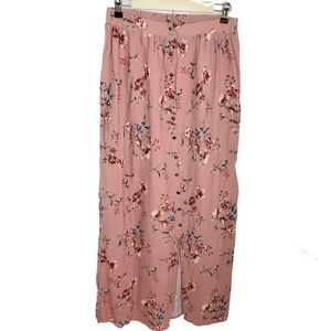 Pink floral button down front boho long maxi skirt